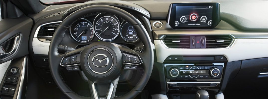 2018 Mazda6 interior shot of digital cockpit with Mazda Connect infotainment and sport iactivsense safety package