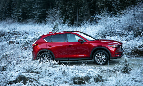 2019 Mazda Cx 5 Exterior Side Shot With Soul Red Paint Color Driving