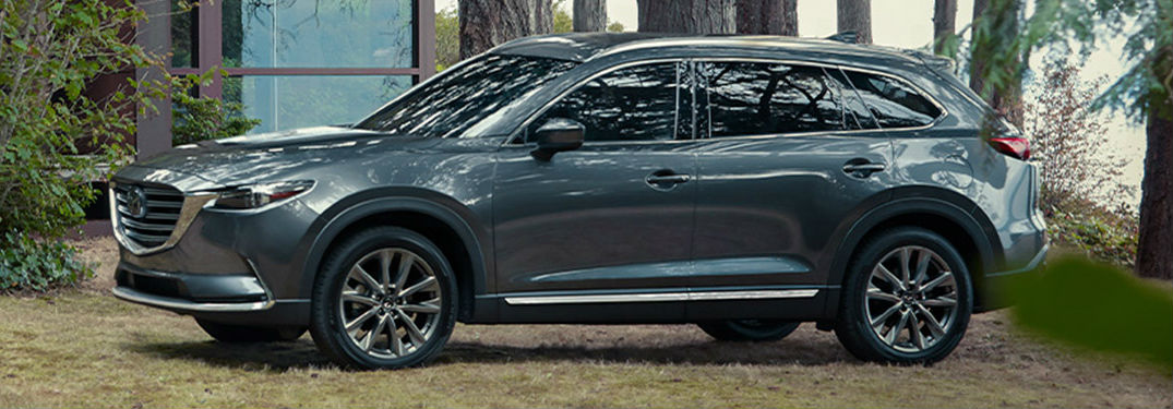 The side view of a gray 2020 Mazda CX-9.