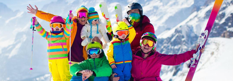 Family in ski gear