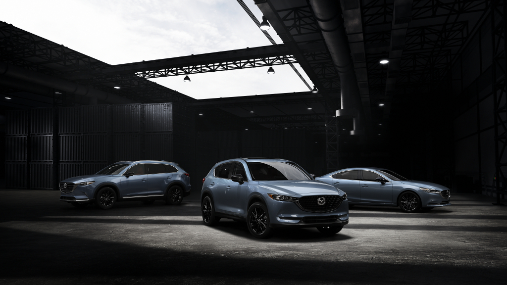 An exterior view of the Carbon Edition models of the 2021 Mazda6, CX-5, and CX-9.