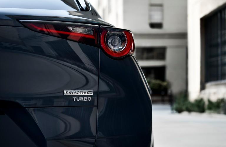 A rear image of a gray 2021 Mazda CX-30 Turbo option.