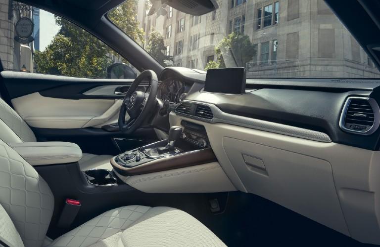 The front interior view inside a 2021 Mazda CX-9.