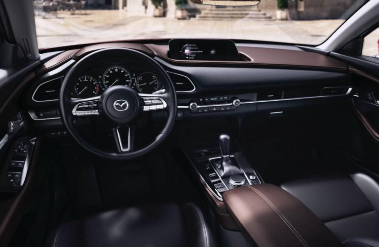 The front interior inside a 2021 Mazda CX-30.