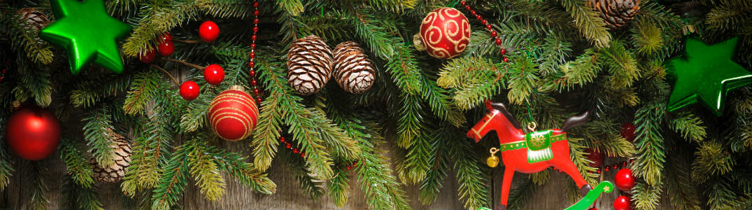 christmas tree border image with ornaments