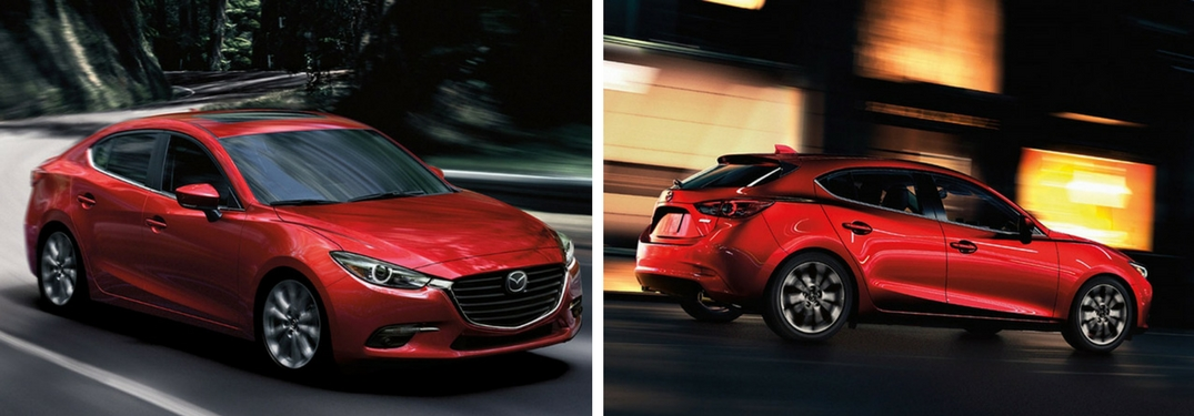 2018 Mazda3 vs 2018 Mazda3 Hatchback exterior of both cars