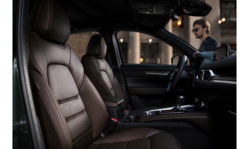 2019 Mazda CX-5 signature trim interior side shot of front seating material upholstery and design