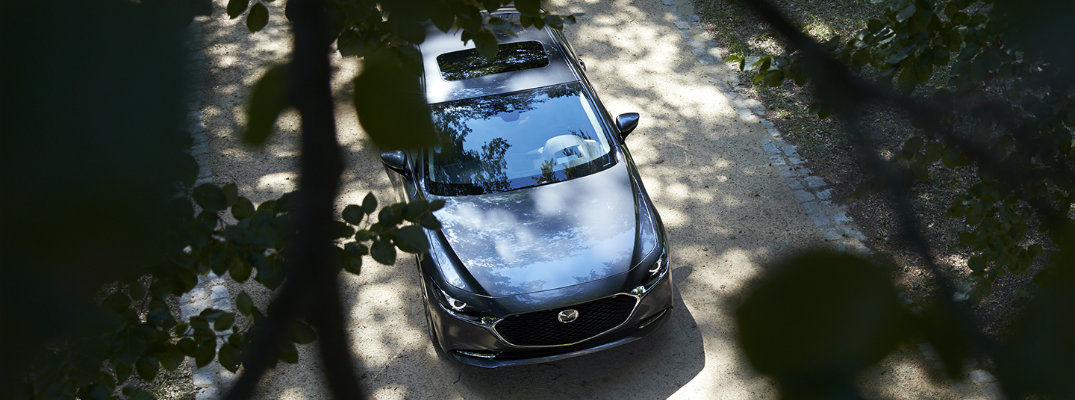 Overlooking the 2019 Mazda3 sedan through trees