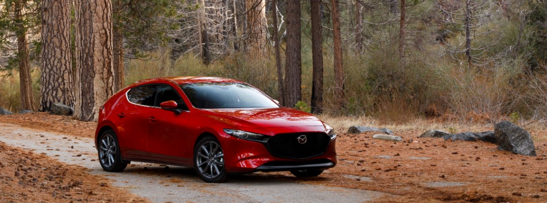 2019 Mazda3 hatchback in the woods