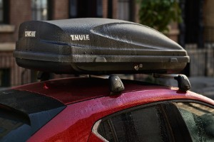Thule cargo box on the roof of the 2020 Mazda CX-5