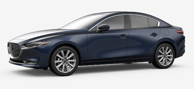 2020 Mazda 3 sedan in Deep Crystal Blue Mica