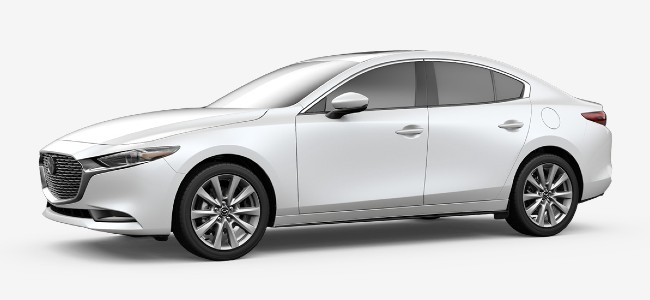 2020 Mazda 3 sedan in Snow White Pearl Mica
