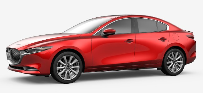 2020 Mazda 3 sedan in Soul Red Crystal Metallic