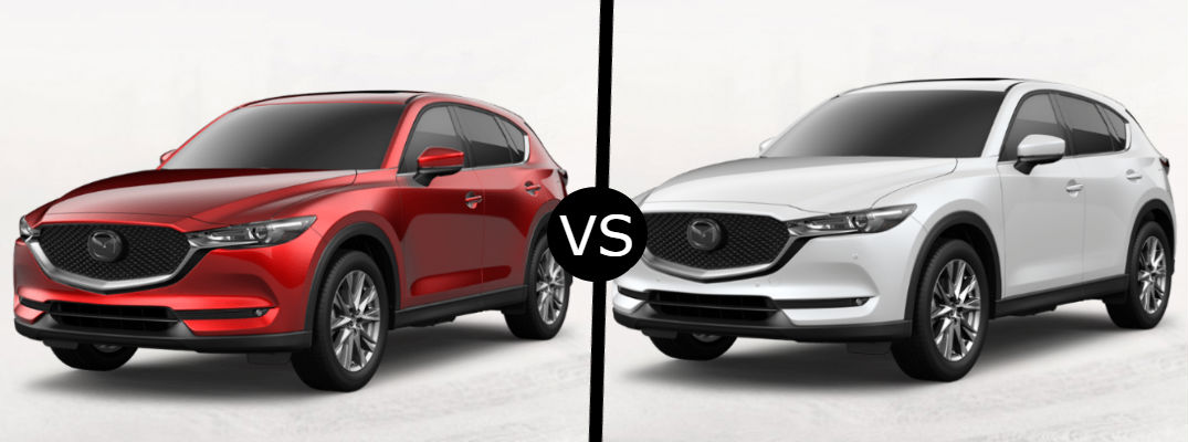 What are the key differences between the 2020 Mazda CX-5 SUV's highest trims?