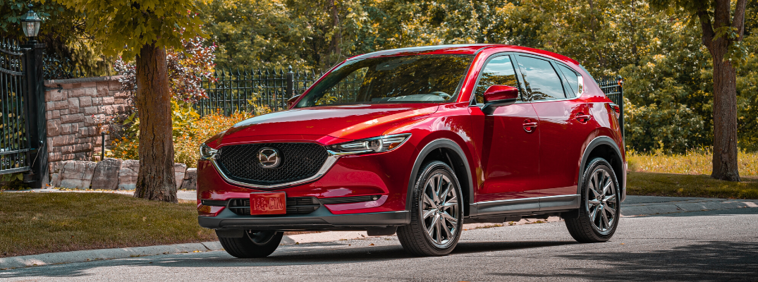 Front view of red 2020 Mazda CX-5 Signature