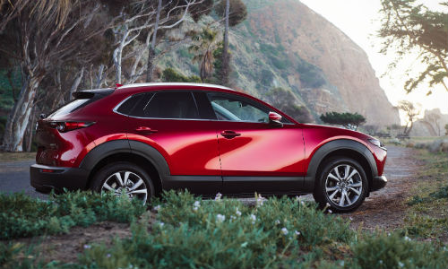 Side view of red 2020 Mazda CX-30