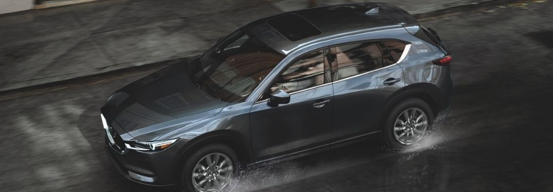 Overhead View of Gray 2021 Mazda CX-5 Driving in the Rain