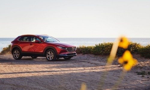 2021 Mazda CX-30 red parked by lake with flowers in foreground