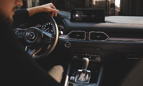 2021 Mazda CX-5 interior using smartphone connectivity