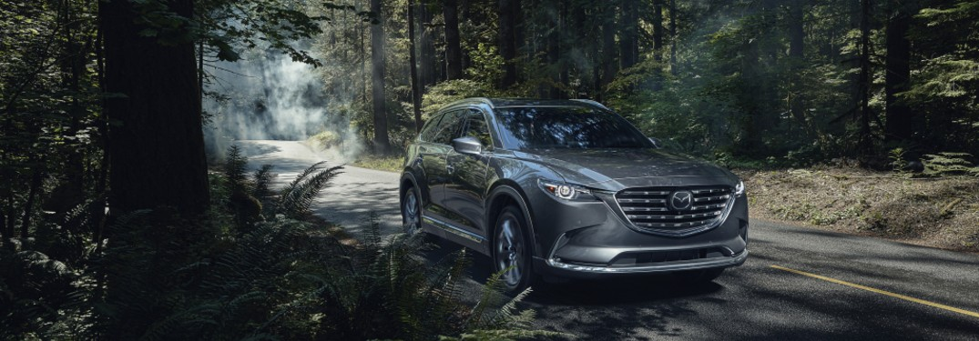 2021 Mazda CX-9 driving down road in forest