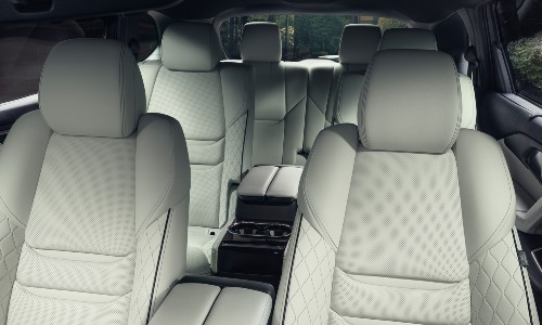 2021 Mazda CX-9 white leather interior showing all three rows
