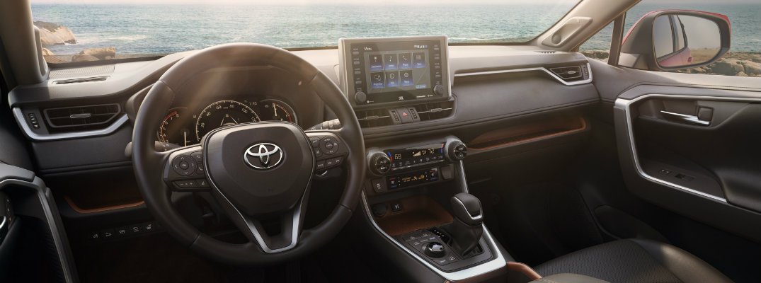 Steering wheel and center touchscreen interface of all-new 2019 Toyota RAV4