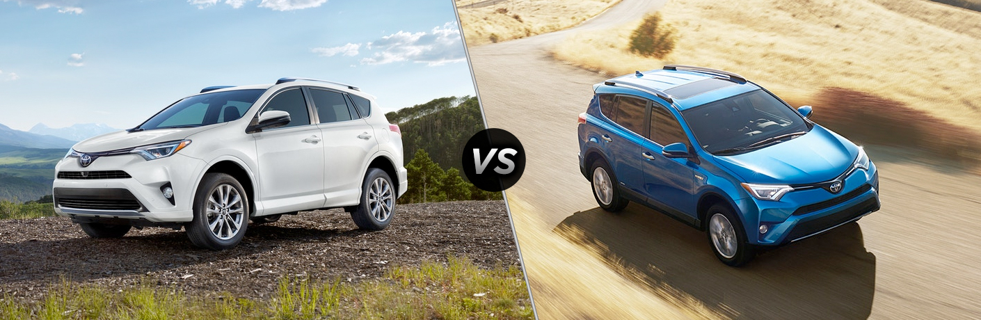 Comparison image of silver 2018 Toyota RAV4 and blue 2018 RAV4 Hybrid