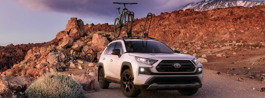2020 Toyota RAV4 with a bike rack