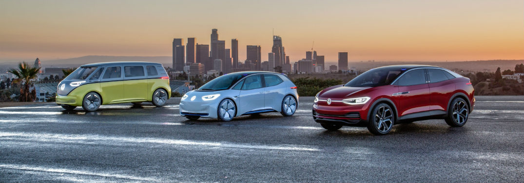 Volkswagen electric concepts far shot in front of city