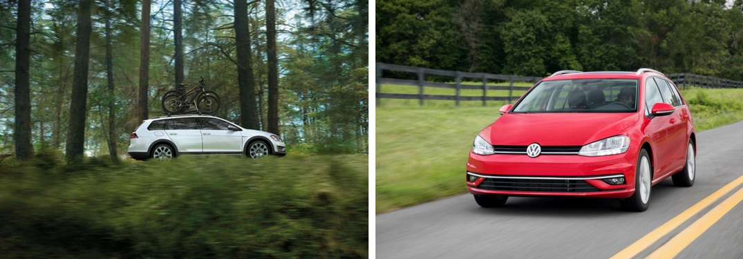 2018 Volkswagen Golf Alltrack and SportWagen collage of both vehicles