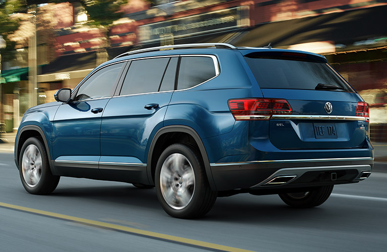 Blue 2019 Volkswagen Atlas driving