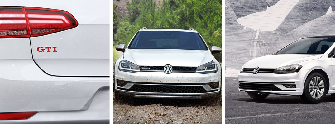 Closeup of GTI logo, front of white 2019 Volkswagen Golf, and side of white 2019 Volkswagen Golf