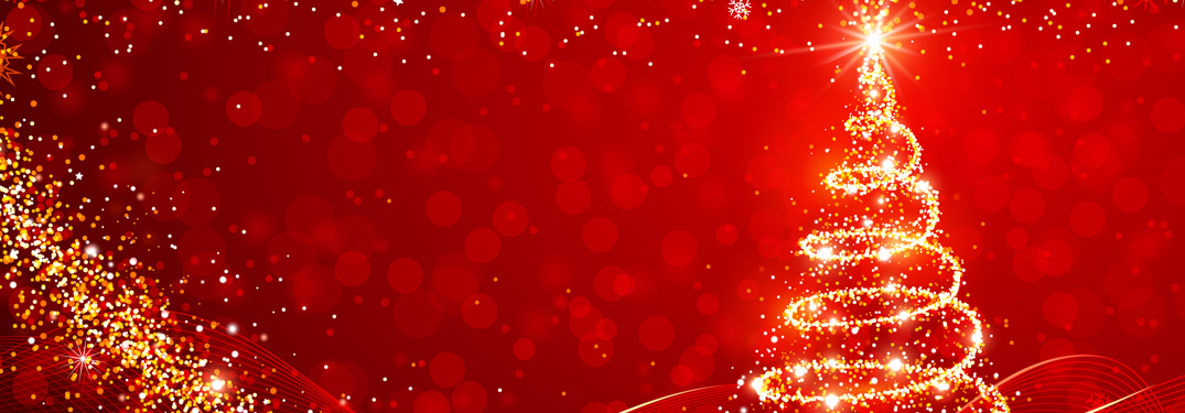 Red holiday header image with Christmas tree
