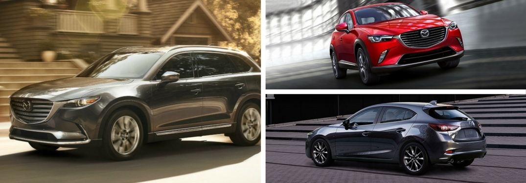 Collage of 2018 Mazda models Mazd CX-9, CX-3 and Mazda3