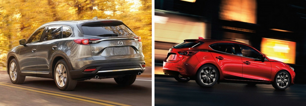 2018 Mazda CX-9 and Mazda3 hatchback exterior view of both SUVs