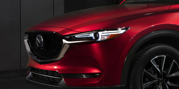 2018 Mazda CX-5 Front End Close Up in Red View of Headlight and Grille