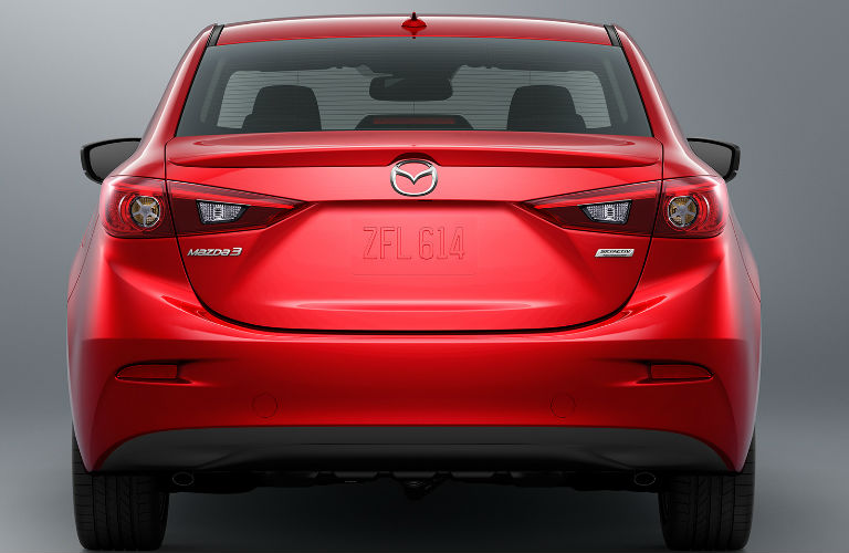 Rear End View of the 2018 Mazda3 in Red