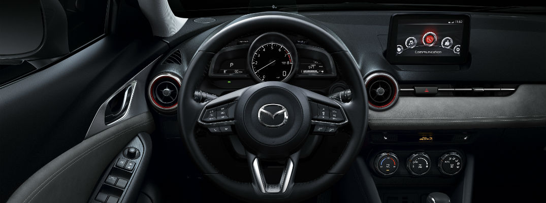 A photo of the infotainment system available in many Mazda vehicles.