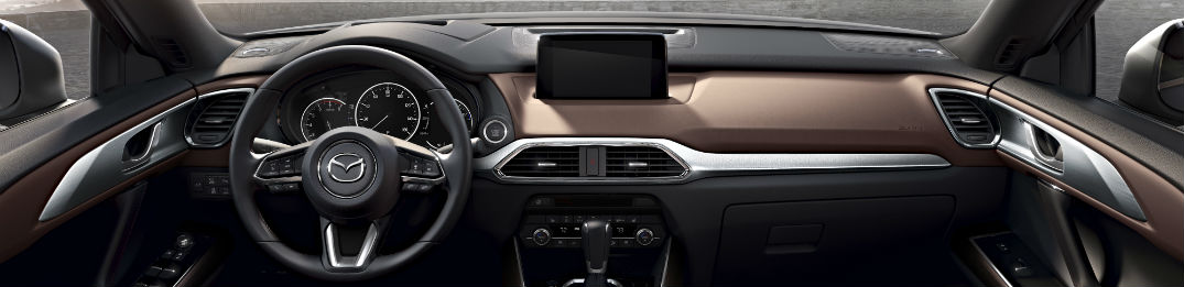 An interior photo of the 2019 Mazda CX-9 showing its new infotainment system equipment.