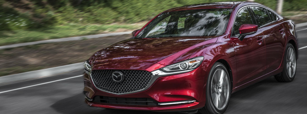A front left quarter photo of the 2018 Mazda6 sedan.