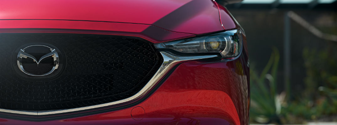A closely cropped photo of the front end of the Mazda CX-5.