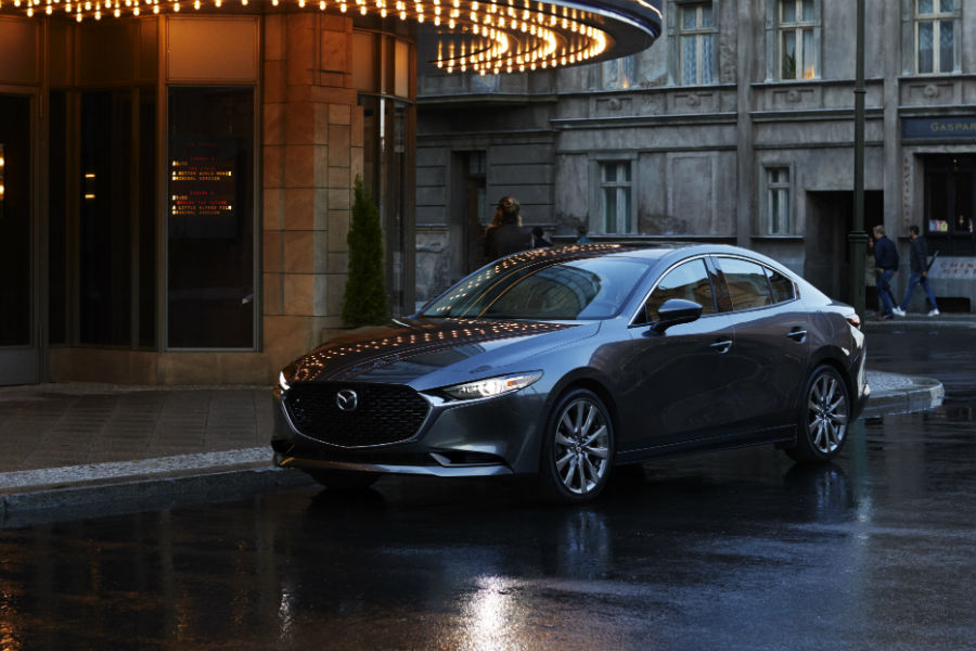 A front left quarter photo of the 2019 Mazda3 sedan.