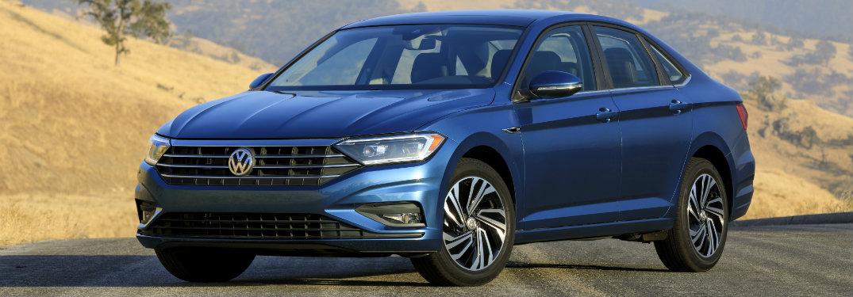 2019 Volkswagen Jetta blue front exterior on road