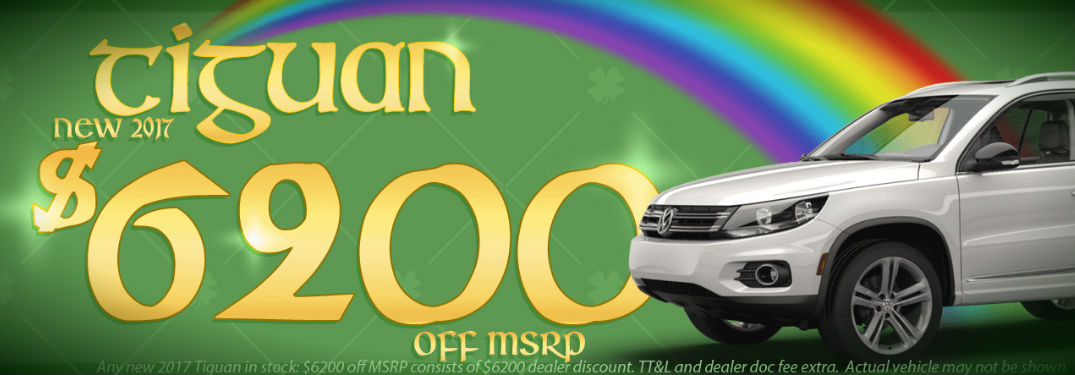 Onion Creek VW St. Patrick's Day banner showing $6,200 discount for select 2017 Tiguan