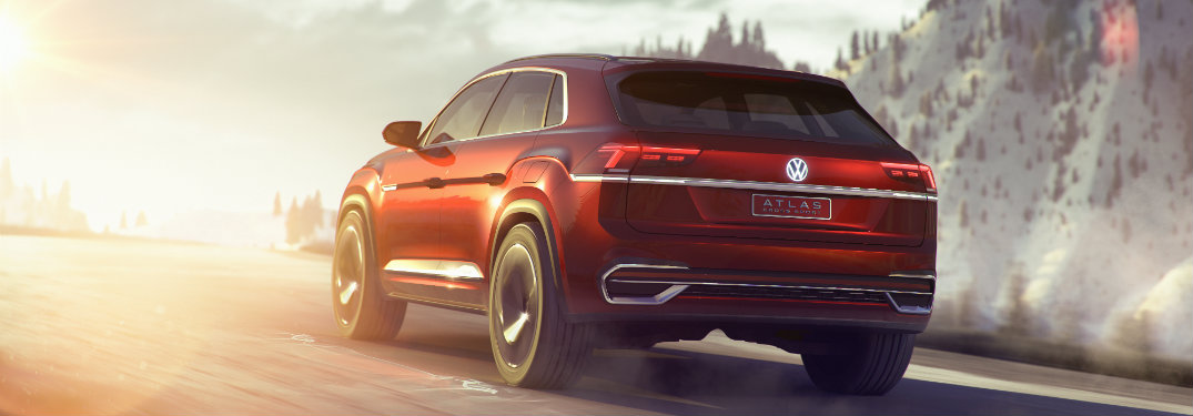 2019 Volkswagen Atlas Cross Sport view of the rear as the model faces a sunset