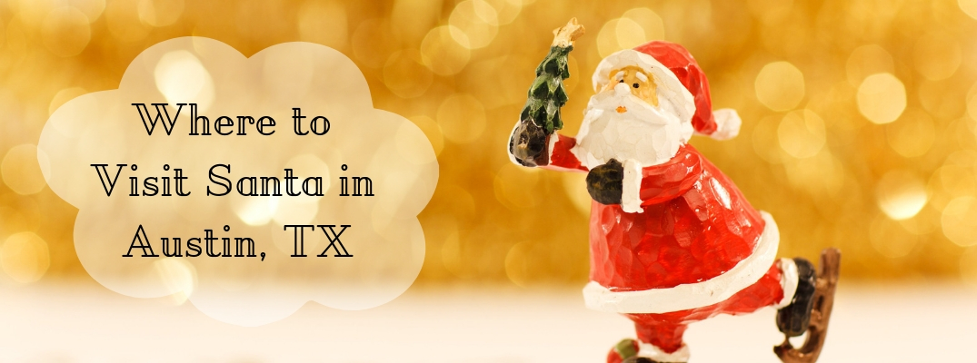 Wooden Santa holding tree with Where to Visit Santa in Austin, TX text