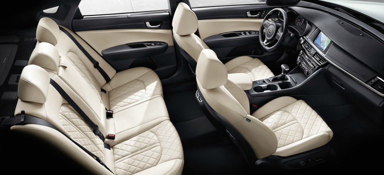 2018 Kia Optima with beige quilted Nappa leather seats