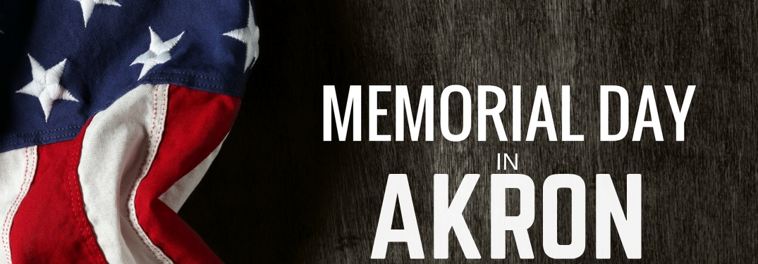 Memorial Day in Akron with American flag and wood grain background