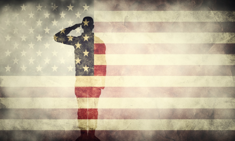 double exposure of a soldier and an american flag small b