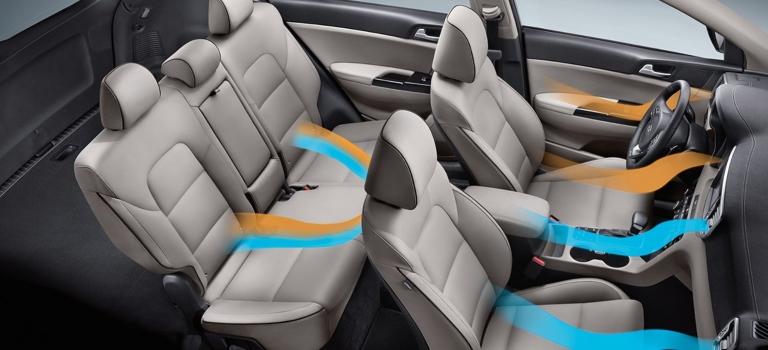2019 Kia Sportage interior with autotmatic climate control visualization